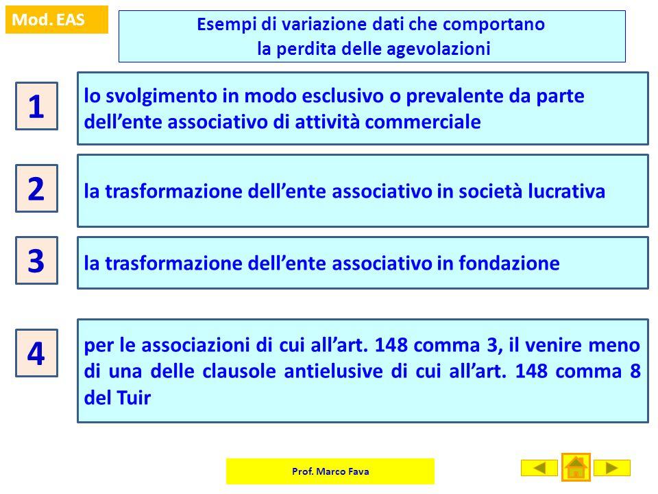 Prof. Marco Fava Mod. EAS Esempi di variazione dati che comportano la perdita delle agevolazioni 1 lo svolgimento in modo esclusivo o prevalente da pa