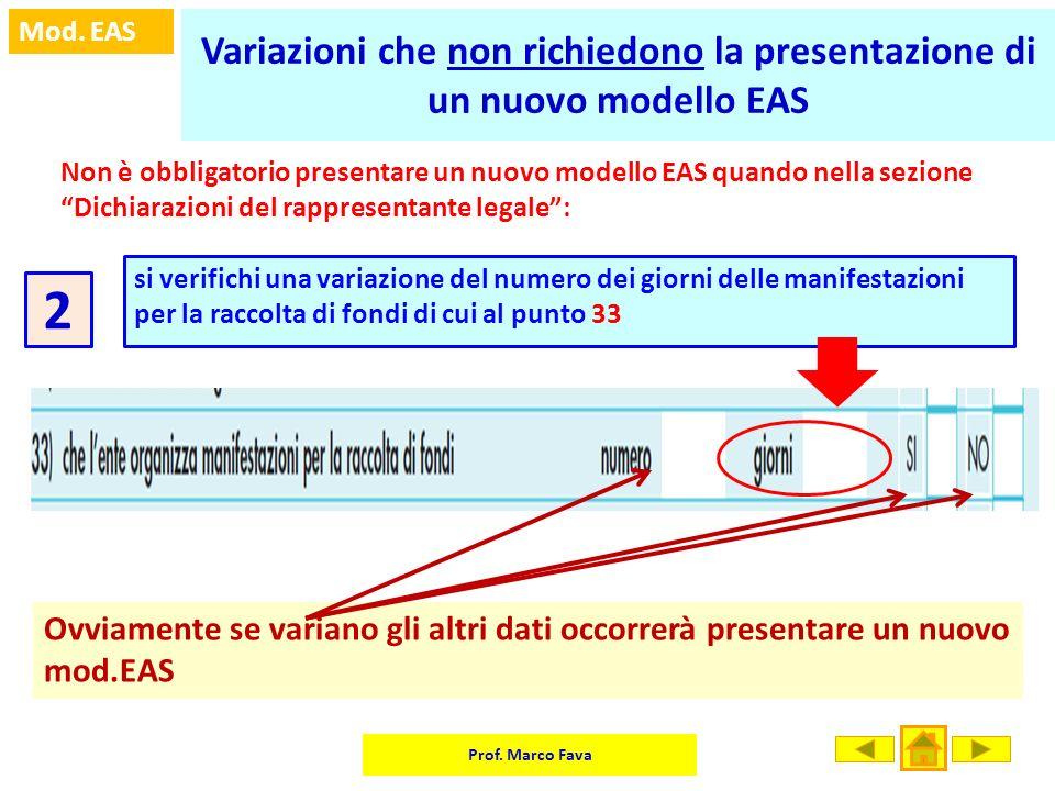 Prof. Marco Fava Mod. EAS Variazioni che non richiedono la presentazione di un nuovo modello EAS Non è obbligatorio presentare un nuovo modello EAS qu