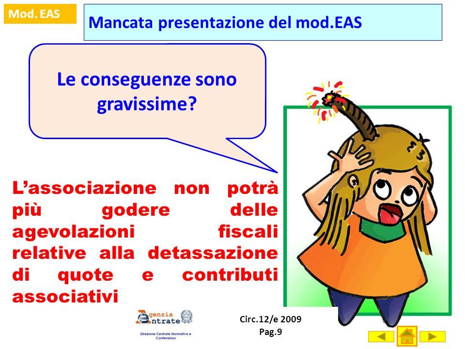 Prof. Marco Fava Mod. EAS Mancata presentazione del mod.EAS Le conseguenze sono gravissime? Lassociazione non potrà più godere delle agevolazioni fisc