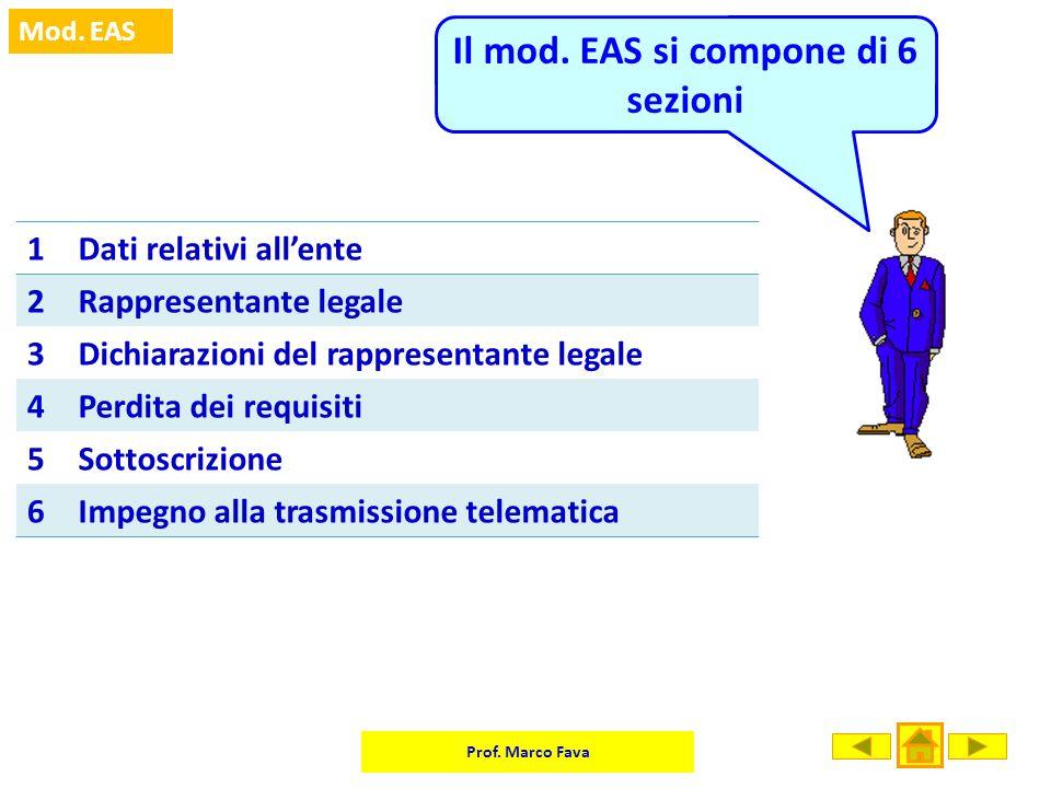 Prof. Marco Fava Mod. EAS 1Dati relativi allente 2Rappresentante legale 3Dichiarazioni del rappresentante legale 4Perdita dei requisiti 5Sottoscrizion