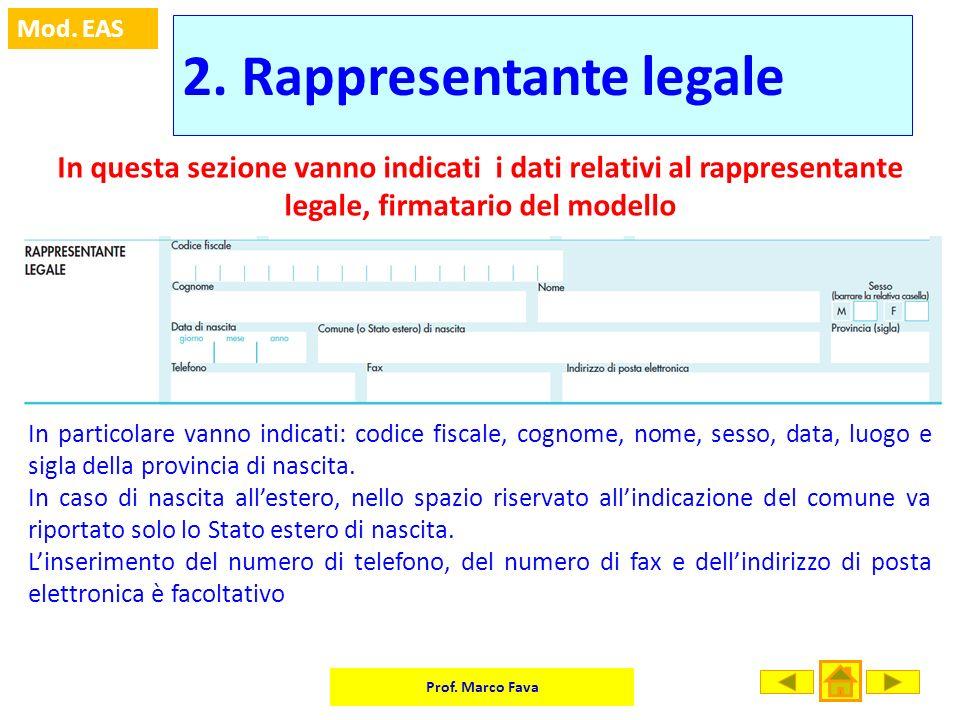 Prof. Marco Fava Mod. EAS 2. Rappresentante legale In questa sezione vanno indicati i dati relativi al rappresentante legale, firmatario del modello I