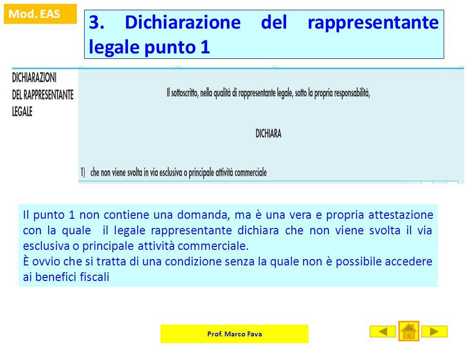 Prof. Marco Fava Mod. EAS 3. Dichiarazione del rappresentante legale punto 1 Il punto 1 non contiene una domanda, ma è una vera e propria attestazione