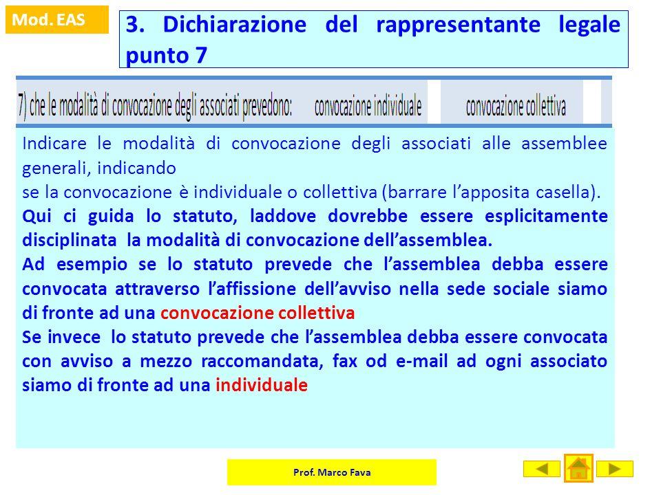 Prof. Marco Fava Mod. EAS Indicare le modalità di convocazione degli associati alle assemblee generali, indicando se la convocazione è individuale o c