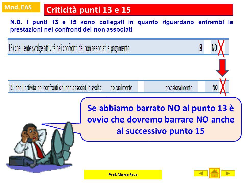 Prof. Marco Fava Mod. EAS Criticità punti 13 e 15 N.B. i punti 13 e 15 sono collegati in quanto riguardano entrambi le prestazioni nei confronti dei n