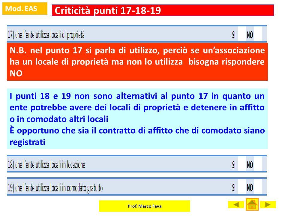 Prof. Marco Fava Mod. EAS N.B. nel punto 17 si parla di utilizzo, perciò se unassociazione ha un locale di proprietà ma non lo utilizza bisogna rispon