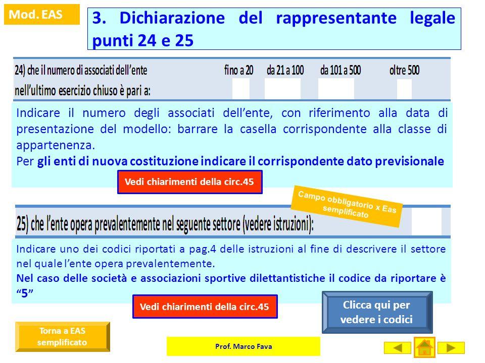 Prof. Marco Fava Mod. EAS Indicare il numero degli associati dellente, con riferimento alla data di presentazione del modello: barrare la casella corr