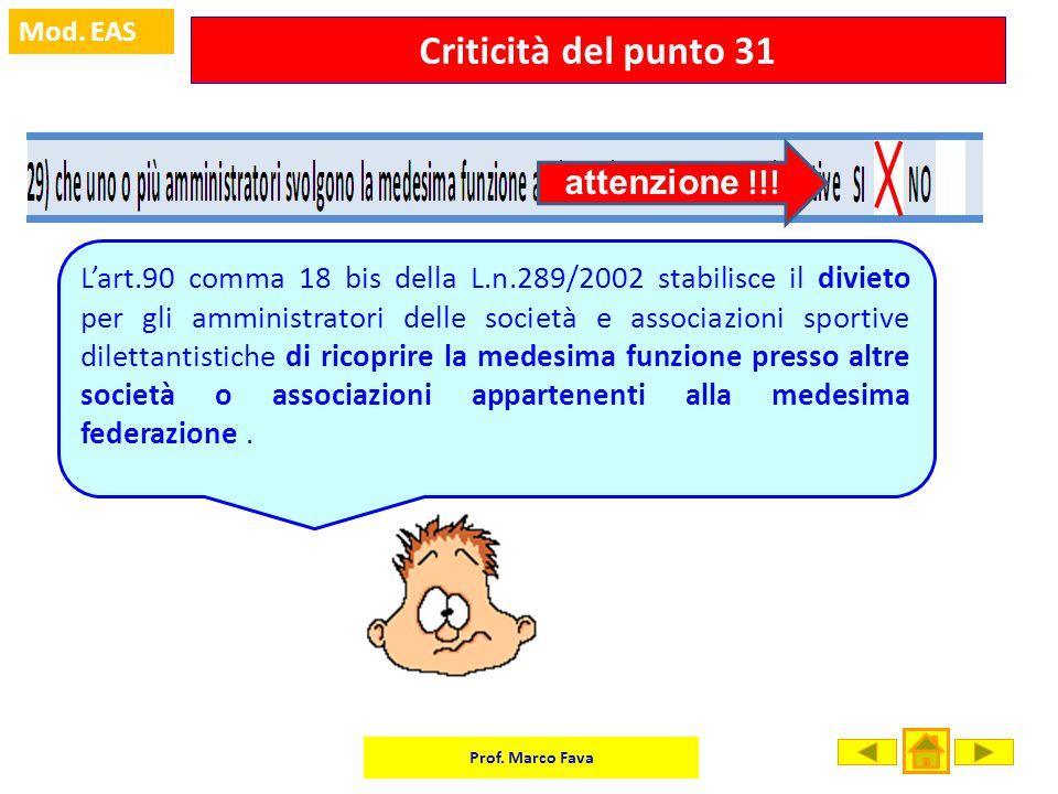 Prof. Marco Fava Mod. EAS Criticità del punto 31 Lart.90 comma 18 bis della L.n.289/2002 stabilisce il divieto per gli amministratori delle società e