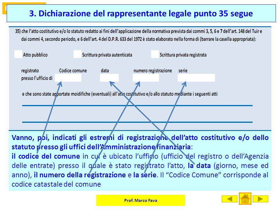 Prof. Marco Fava Mod. EAS Vanno, poi, indicati gli estremi di registrazione dellatto costitutivo e/o dello statuto presso gli uffici dellAmministrazio