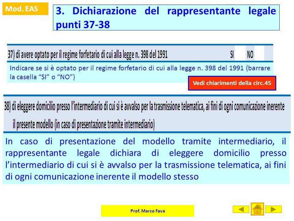 Prof. Marco Fava Mod. EAS Indicare se si è optato per il regime forfetario di cui alla legge n. 398 del 1991 (barrare la casella SI o NO) In caso di p
