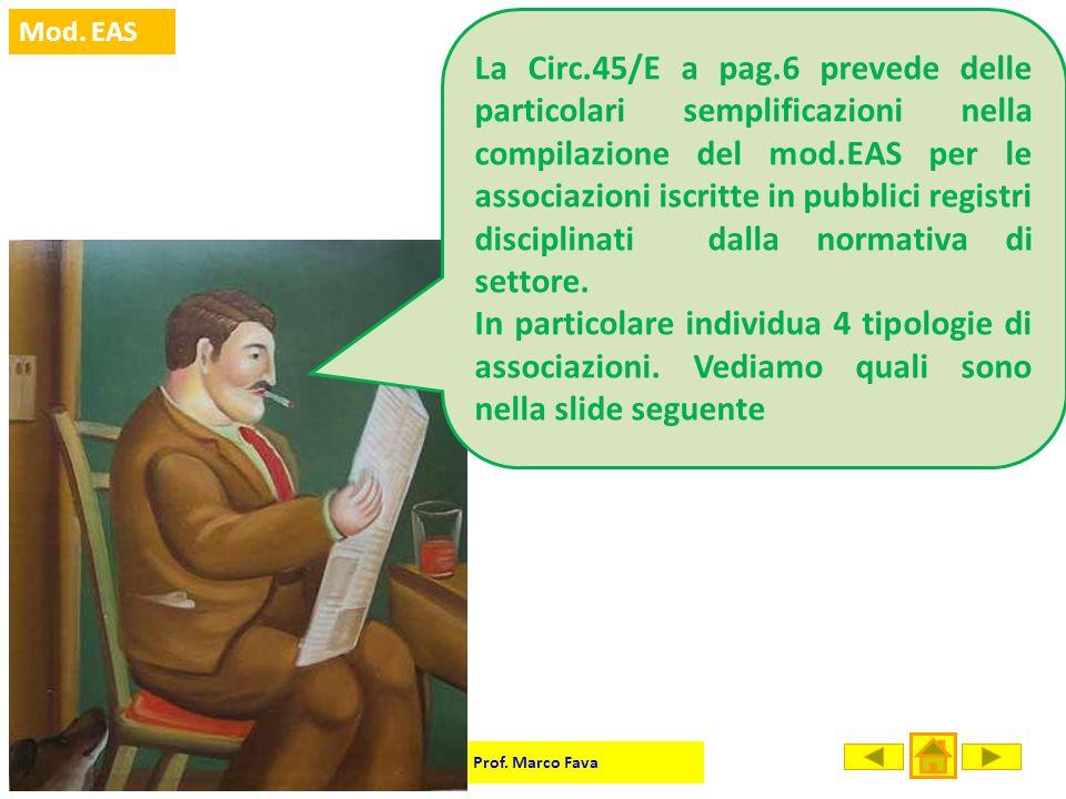 Prof. Marco Fava Mod. EAS La Circ.45/E a pag.6 prevede delle particolari semplificazioni nella compilazione del mod.EAS per le associazioni iscritte i