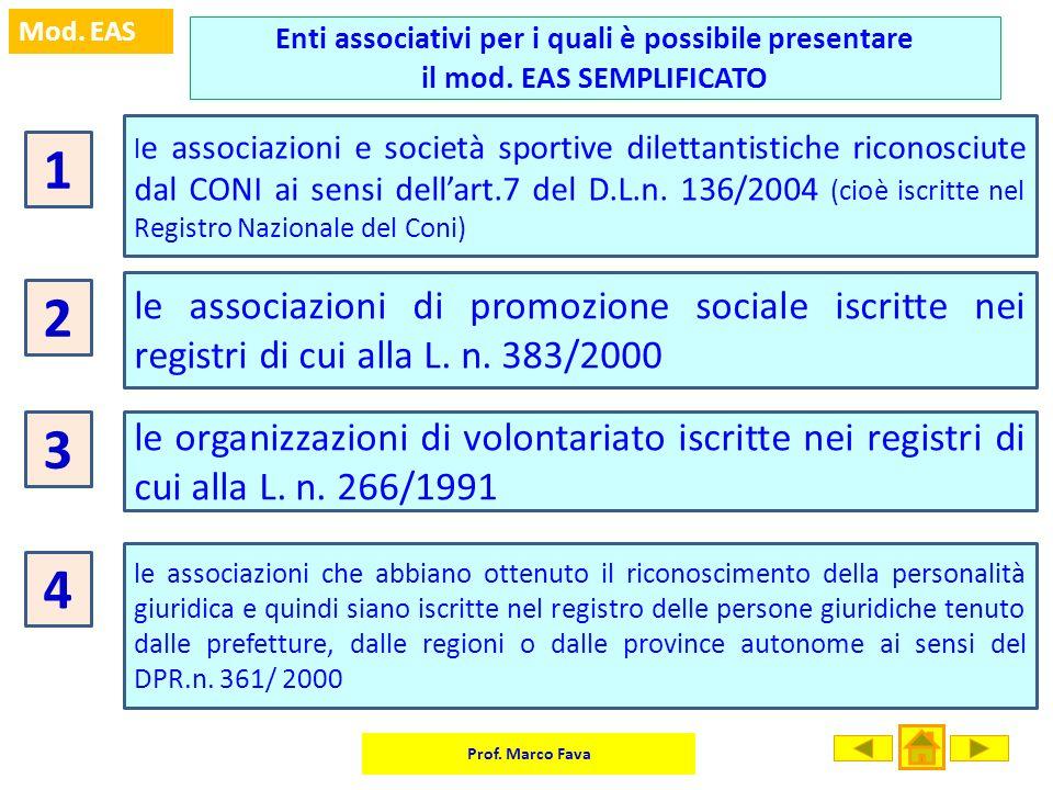 Prof. Marco Fava Mod. EAS Enti associativi per i quali è possibile presentare il mod. EAS SEMPLIFICATO 1 l e associazioni e società sportive dilettant
