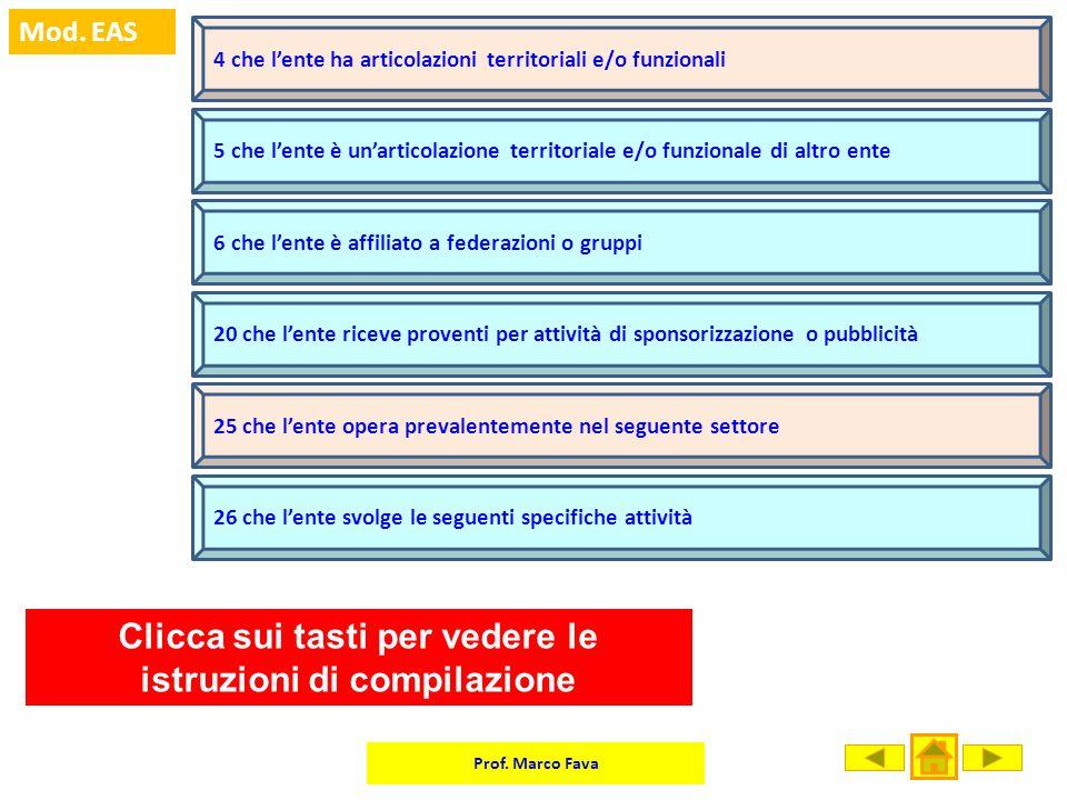 Prof. Marco Fava Mod. EAS 4 che lente ha articolazioni territoriali e/o funzionali 5 che lente è unarticolazione territoriale e/o funzionale di altro