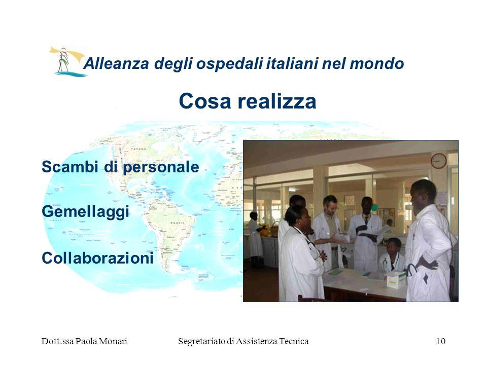 Dott.ssa Paola MonariSegretariato di Assistenza Tecnica10 Alleanza degli ospedali italiani nel mondo Scambi di personale Gemellaggi Collaborazioni Cos