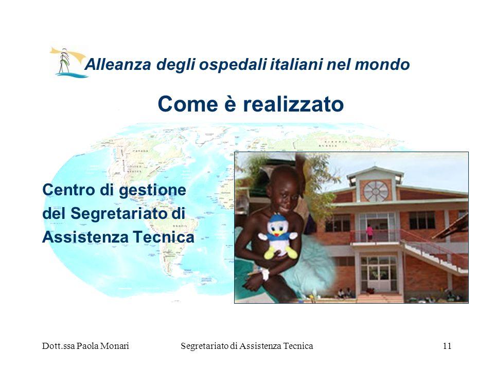 Dott.ssa Paola MonariSegretariato di Assistenza Tecnica11 Alleanza degli ospedali italiani nel mondo Come è realizzato Centro di gestione del Segretar