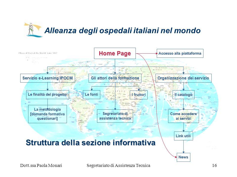 Dott.ssa Paola MonariSegretariato di Assistenza Tecnica16 Struttura della sezione informativa Servizio e-Learning IPOCM Le finalità del progetto La me