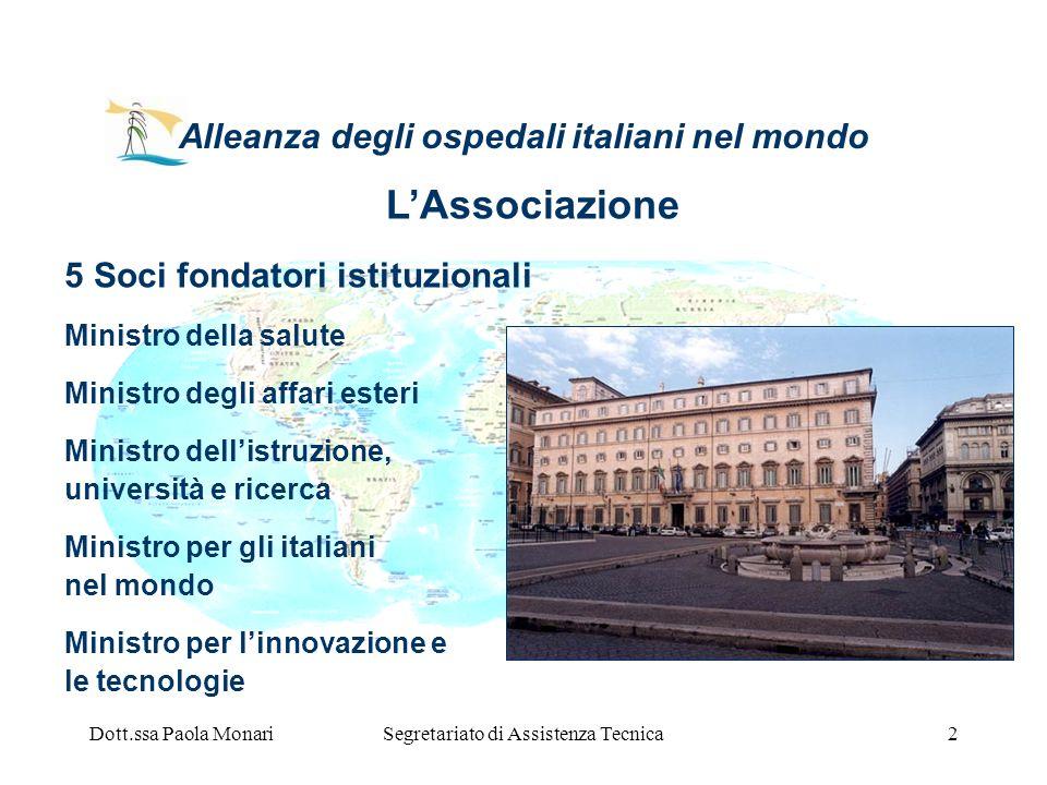 Dott.ssa Paola MonariSegretariato di Assistenza Tecnica2 Alleanza degli ospedali italiani nel mondo 5 Soci fondatori istituzionali Ministro della salu