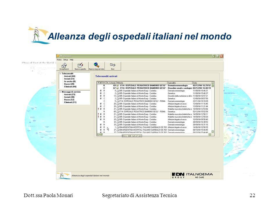 Dott.ssa Paola MonariSegretariato di Assistenza Tecnica22 Alleanza degli ospedali italiani nel mondo