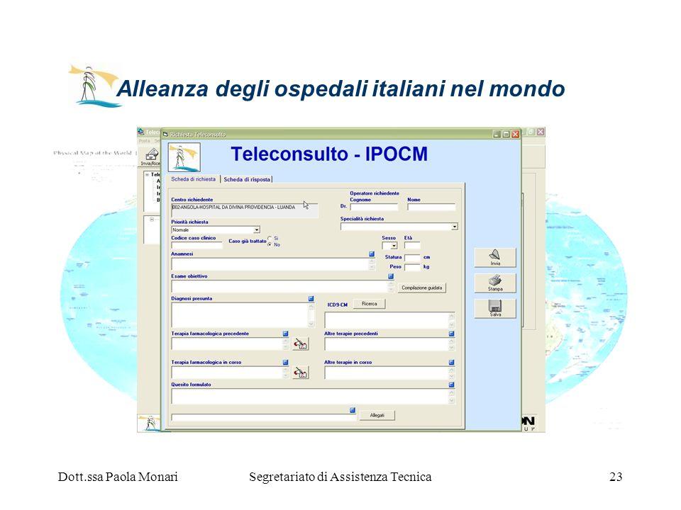 Dott.ssa Paola MonariSegretariato di Assistenza Tecnica23 Alleanza degli ospedali italiani nel mondo