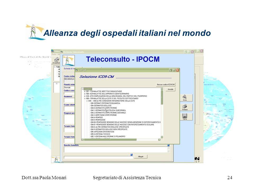 Dott.ssa Paola MonariSegretariato di Assistenza Tecnica24 Alleanza degli ospedali italiani nel mondo