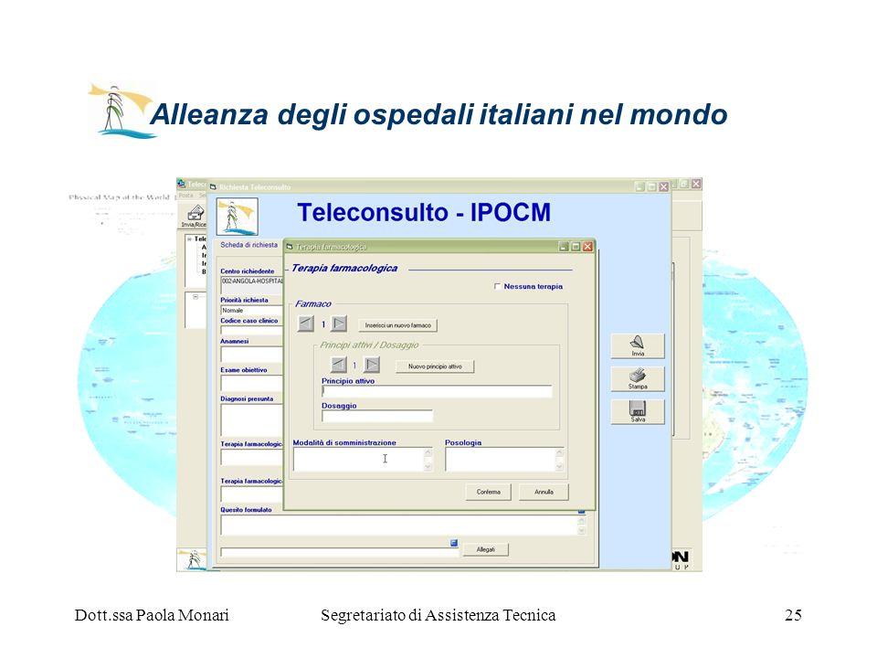 Dott.ssa Paola MonariSegretariato di Assistenza Tecnica25 Alleanza degli ospedali italiani nel mondo
