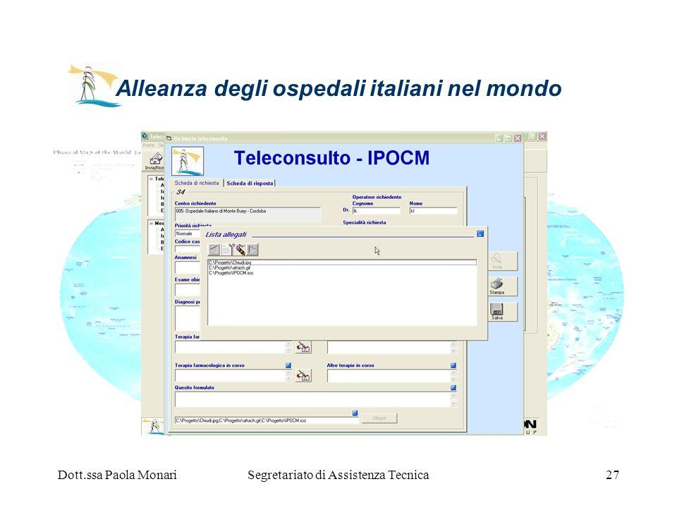 Dott.ssa Paola MonariSegretariato di Assistenza Tecnica27 Alleanza degli ospedali italiani nel mondo