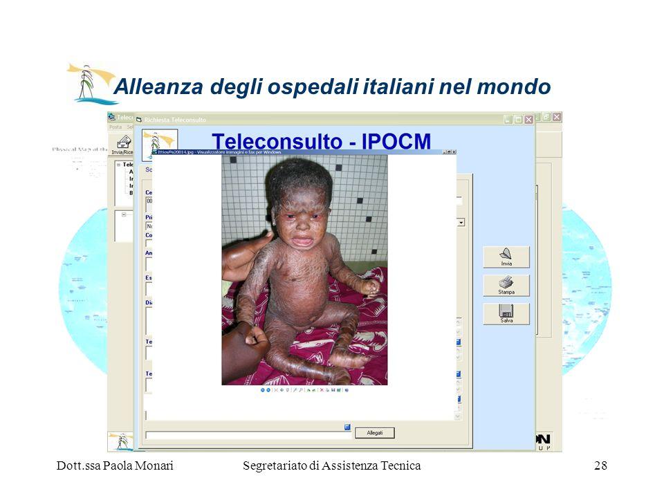 Dott.ssa Paola MonariSegretariato di Assistenza Tecnica28 Alleanza degli ospedali italiani nel mondo