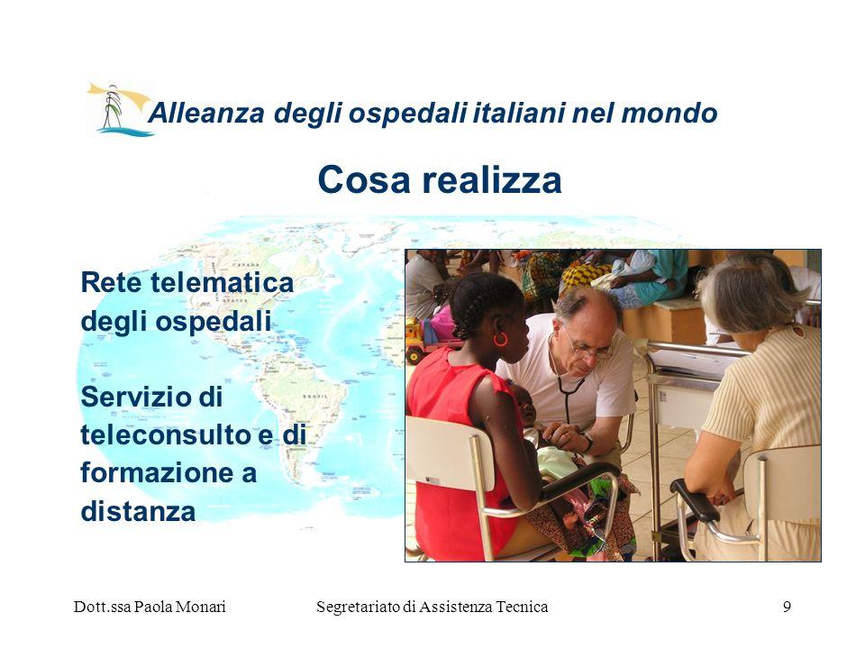 Dott.ssa Paola MonariSegretariato di Assistenza Tecnica9 Alleanza degli ospedali italiani nel mondo Rete telematica degli ospedali Servizio di telecon