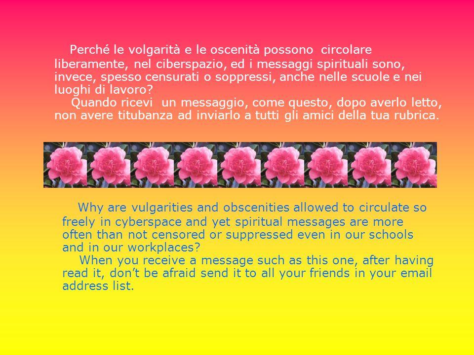 Perché le volgarità e le oscenità possono circolare liberamente, nel ciberspazio, ed i messaggi spirituali sono, invece, spesso censurati o soppressi,