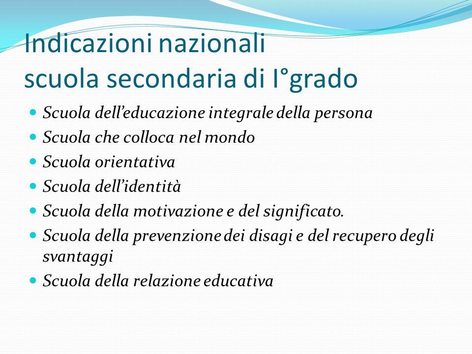 Indicazioni nazionali scuola secondaria di I°grado Scuola delleducazione integrale della persona Scuola che colloca nel mondo Scuola orientativa Scuol