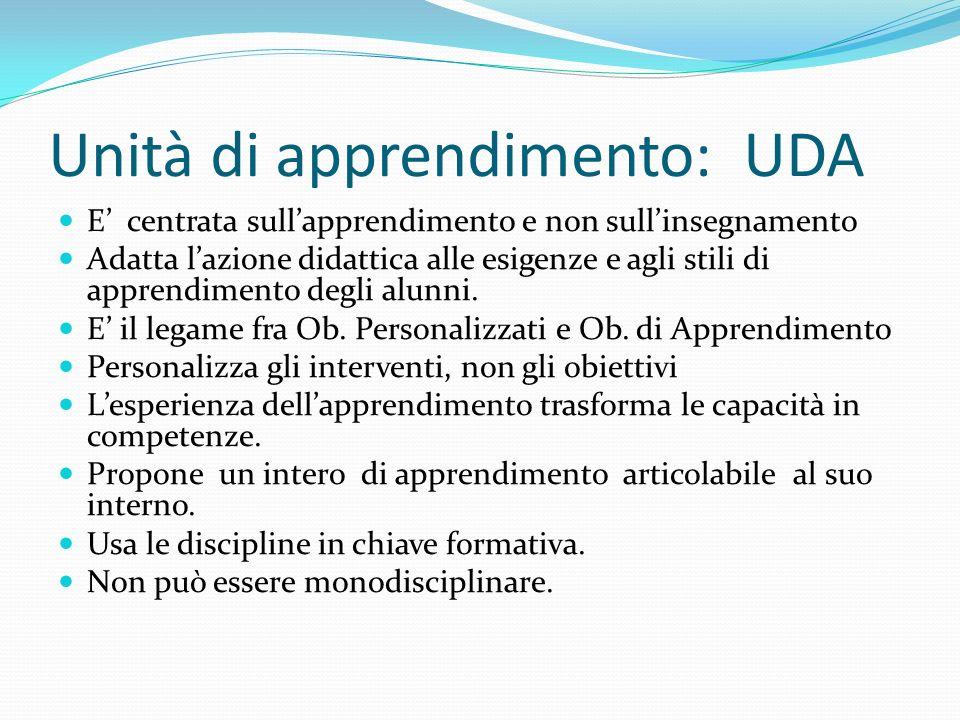 Unità di apprendimento: UDA E centrata sullapprendimento e non sullinsegnamento Adatta lazione didattica alle esigenze e agli stili di apprendimento d