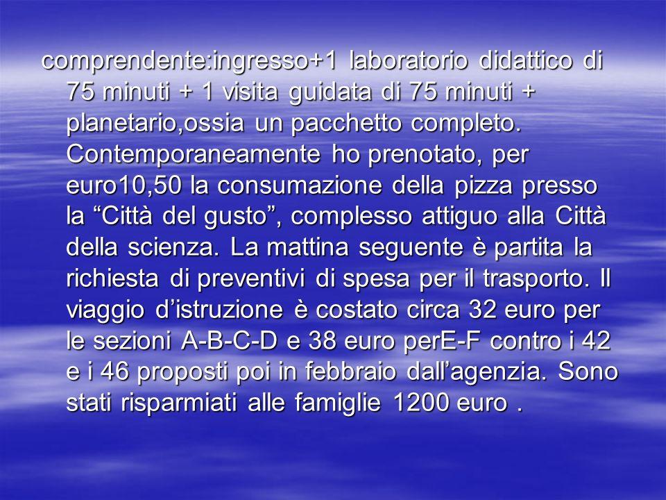 Ho elaborato il programma di viaggio, inserendo anche il giro turistico per la città di Napoli con sosta in piazza del Plebiscito per ammirare le bellezze architettoniche del Palazzo reale,della Galleria a Umberto I, della chiesa di S.