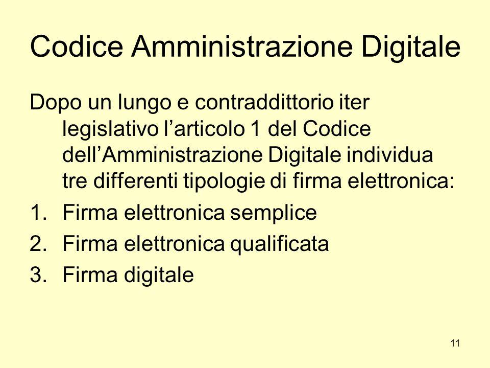 11 Codice Amministrazione Digitale Dopo un lungo e contraddittorio iter legislativo larticolo 1 del Codice dellAmministrazione Digitale individua tre
