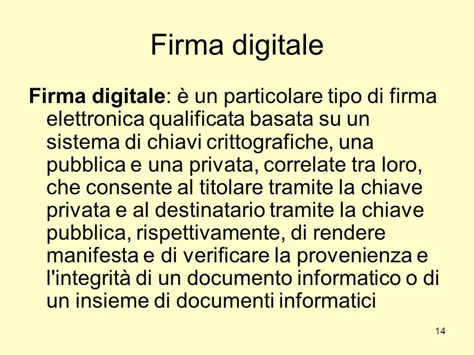 14 Firma digitale Firma digitale: è un particolare tipo di firma elettronica qualificata basata su un sistema di chiavi crittografiche, una pubblica e