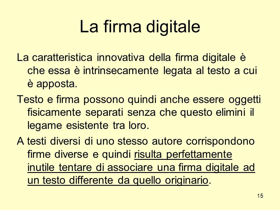 15 La firma digitale La caratteristica innovativa della firma digitale è che essa è intrinsecamente legata al testo a cui è apposta. Testo e firma pos