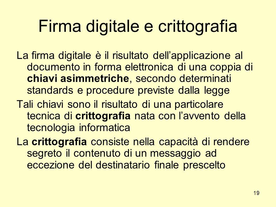19 Firma digitale e crittografia La firma digitale è il risultato dellapplicazione al documento in forma elettronica di una coppia di chiavi asimmetri