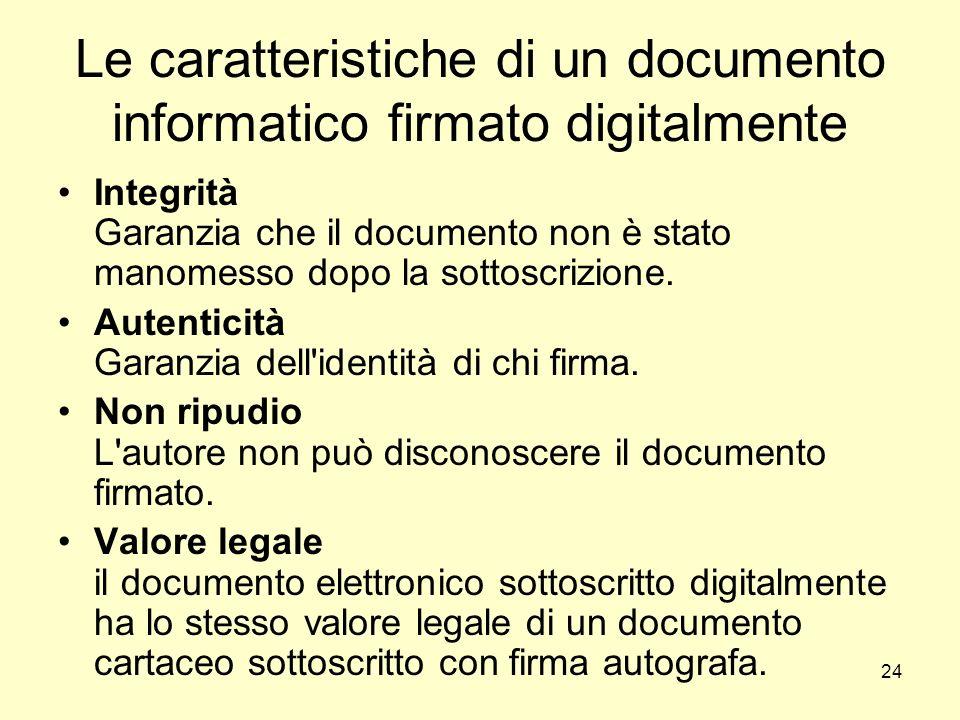 24 Le caratteristiche di un documento informatico firmato digitalmente Integrità Garanzia che il documento non è stato manomesso dopo la sottoscrizion