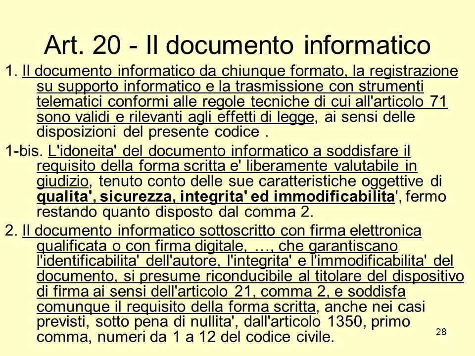 28 Art. 20 - Il documento informatico 1. Il documento informatico da chiunque formato, la registrazione su supporto informatico e la trasmissione con