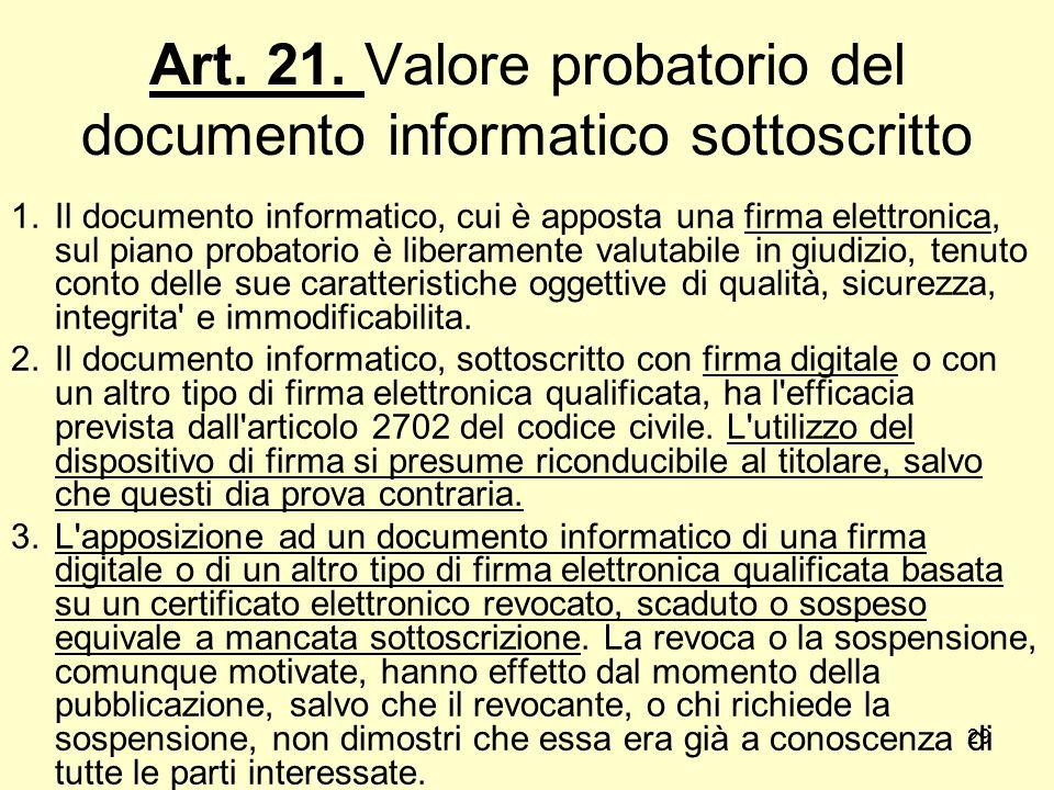 29 Art. 21. Valore probatorio del documento informatico sottoscritto 1.Il documento informatico, cui è apposta una firma elettronica, sul piano probat
