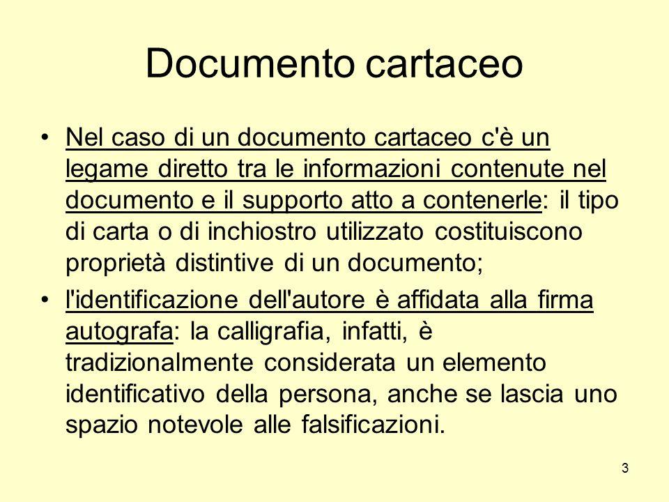 3 Documento cartaceo Nel caso di un documento cartaceo c'è un legame diretto tra le informazioni contenute nel documento e il supporto atto a contener
