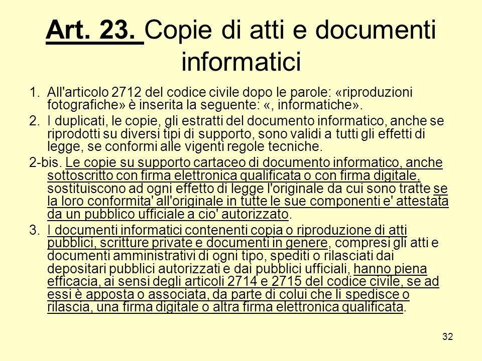 32 Art. 23. Copie di atti e documenti informatici 1.All'articolo 2712 del codice civile dopo le parole: «riproduzioni fotografiche» è inserita la segu