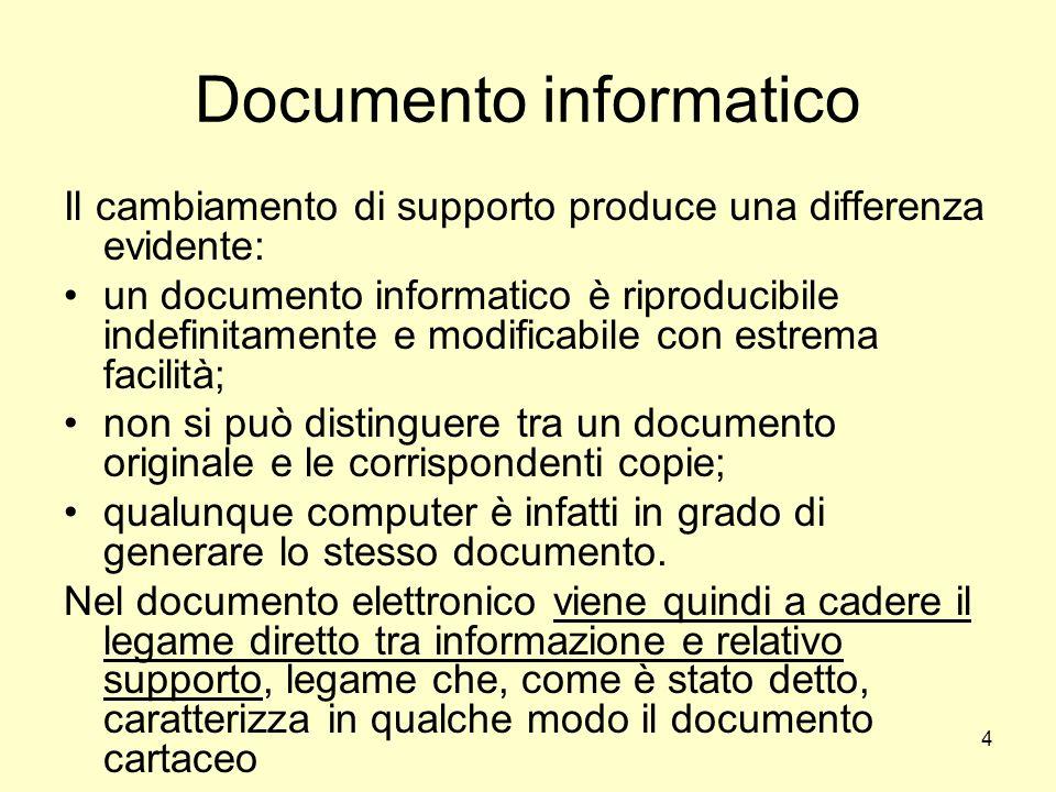 4 Documento informatico Il cambiamento di supporto produce una differenza evidente: un documento informatico è riproducibile indefinitamente e modific
