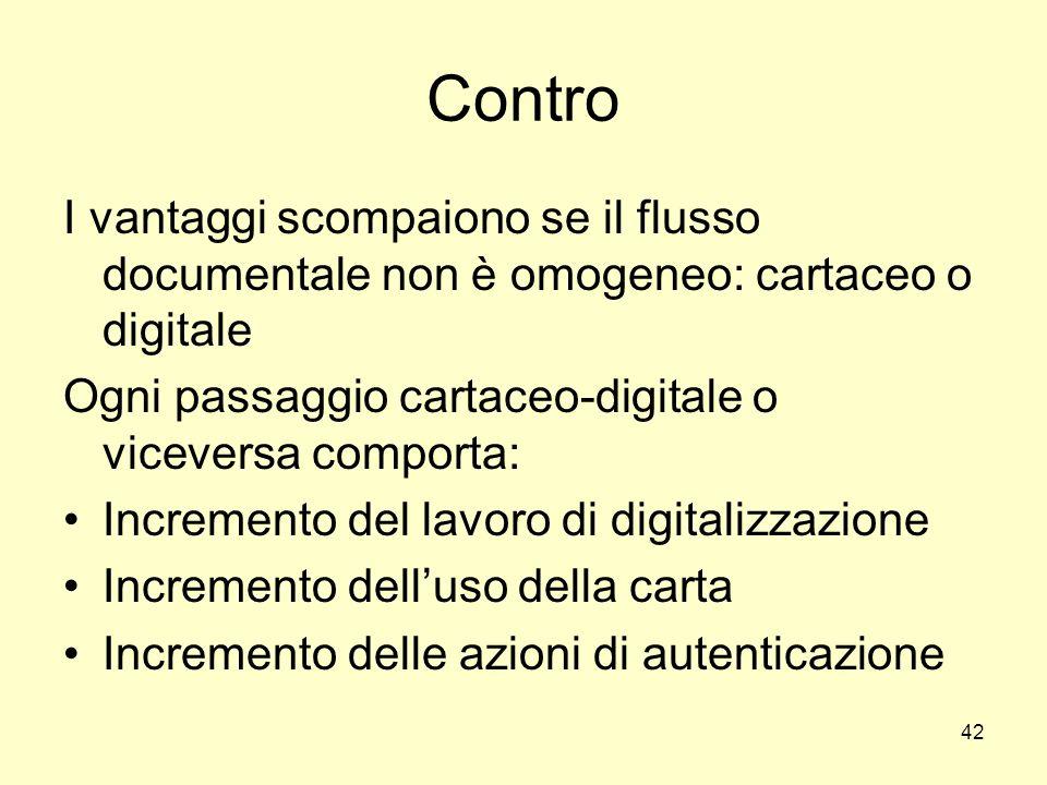 42 Contro I vantaggi scompaiono se il flusso documentale non è omogeneo: cartaceo o digitale Ogni passaggio cartaceo-digitale o viceversa comporta: In