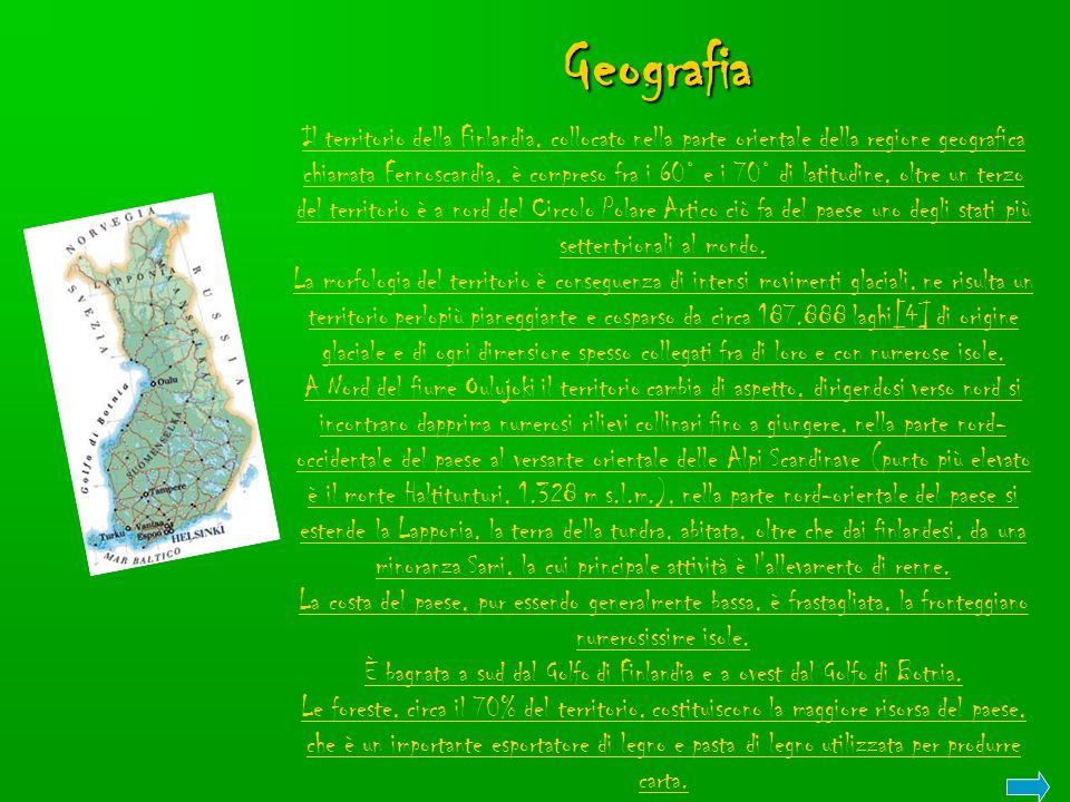 Geografia Il territorio della Finlandia, collocato nella parte orientale della regione geografica chiamata Fennoscandia, è compreso fra i 60° e i 70°