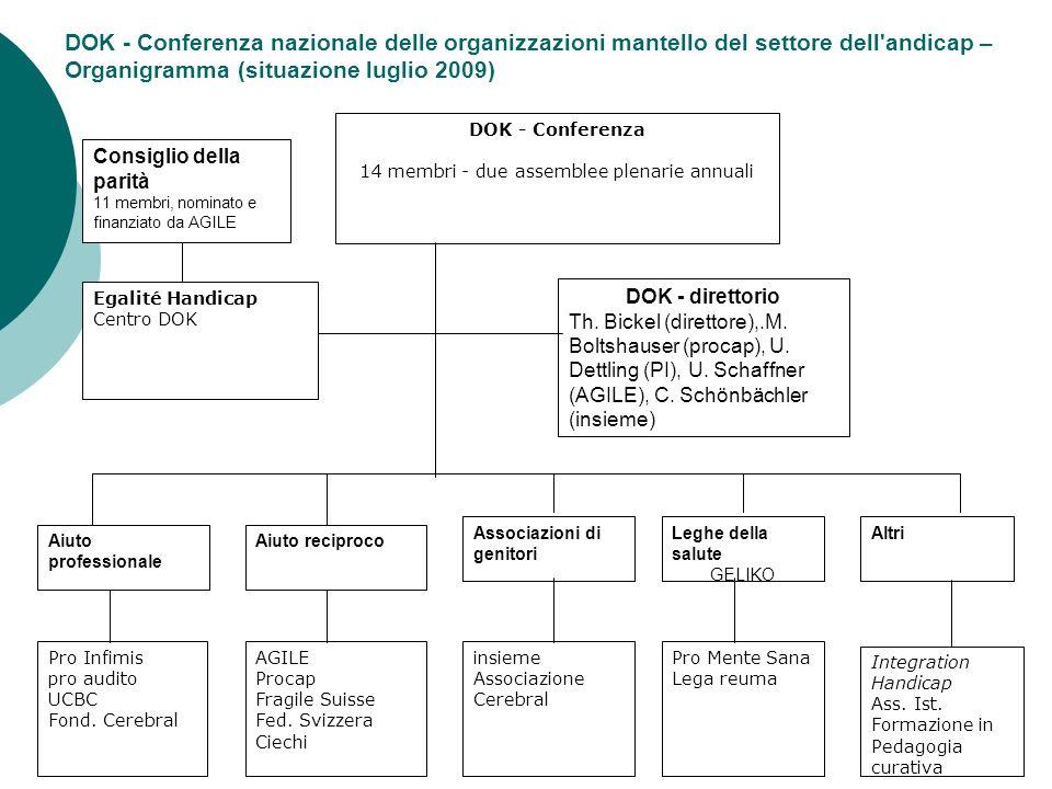 DOK - Conferenza 14 membri - due assemblee plenarie annuali DOK - direttorio Th. Bickel (direttore),.M. Boltshauser (procap), U. Dettling (PI), U. Sch