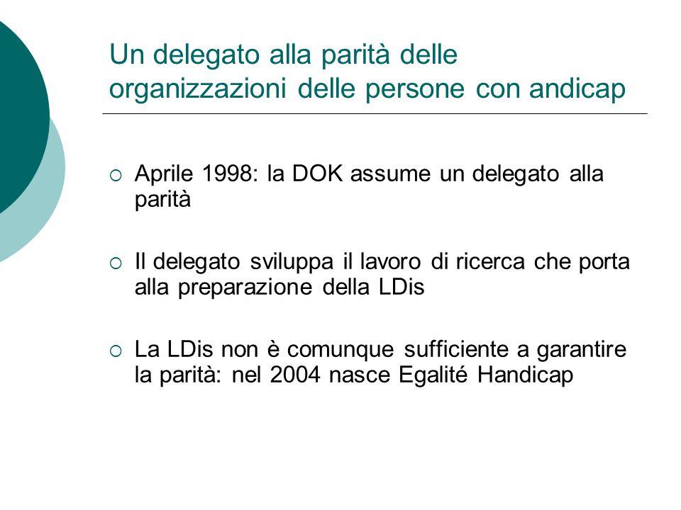 Egalité Handicap Ticino Nasce dalla necessità di fornire prestazioni anche in Ticino, che ha potuto beneficiare poco del servizio Su iniziativa della FTIA e della DOK Inizio dei lavori: 1 marzo 2009
