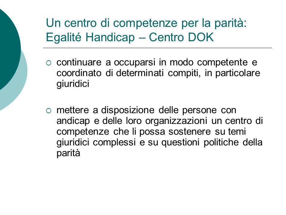 Un centro di competenze per la parità: Egalité Handicap – Centro DOK mettere a disposizione dell Ufficio federale un partner di riferimento in rappresentanza delle organizzazioni private