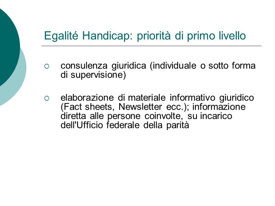 Egalité Handicap: priorità di primo livello sostegno professionale per la concretizzazione della LDis mediante ordinanze e direttive tecniche, su incarico dell Ufficio federale prese di posizione, risposte a consultazioni e difesa di interessi (lobby)