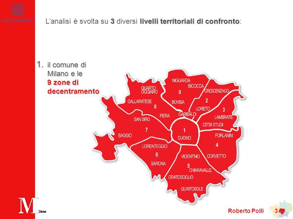 Roberto Polli 14 Popolazione in diminuzione nel comune e nellarea urbana dagli anni settanta… comune area urbana provincia … e, per il prossimo ventennio, previsioni di ulteriore riduzione a tutti e tre i livelli territoriali di analisi.