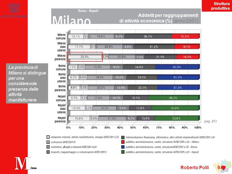 Roberto Polli 10 tasso di attivitàtasso di disoccupazione giovanile tasso di occupazione Principali indicatori del mercato del lavoro (anno 2003) La performance del mercato del lavoro milanese risulta ben superiore alla media nazionale pagg.