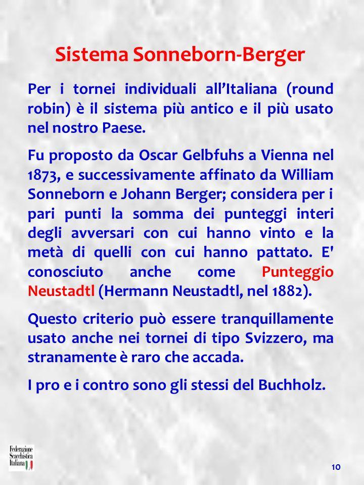 10 Sistema Sonneborn-Berger Per i tornei individuali allItaliana (round robin) è il sistema più antico e il più usato nel nostro Paese. Fu proposto da